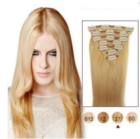 fb636e38f72 Levné vlasy clip in blond medové